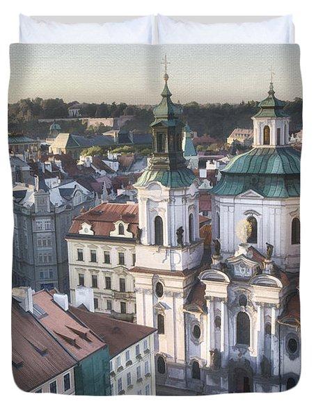 St Nicholas Prague Duvet Cover by Joan Carroll