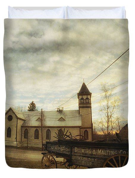 St. Pauls Anglican Church With Wagon  Duvet Cover by Priska Wettstein