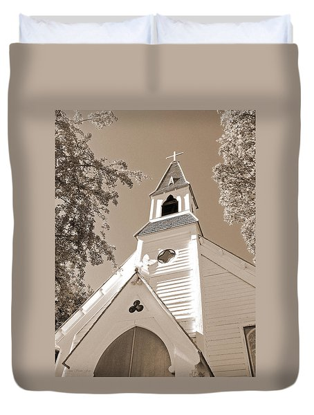 St. Paul's Church Port Townsend In Sepia Duvet Cover