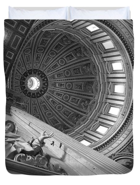 St Peter's Basilica Bw Duvet Cover by Chevy Fleet