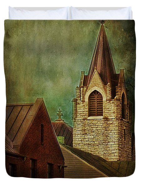 St Peter's By Night Greeting Card Duvet Cover