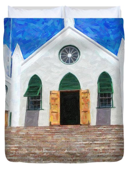 Duvet Cover featuring the photograph St. Peter's Church  by Verena Matthew