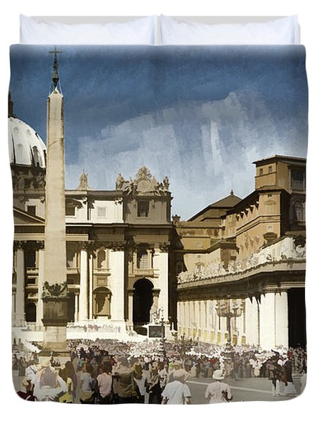 St Peters Square - Vatican Duvet Cover by Jon Berghoff