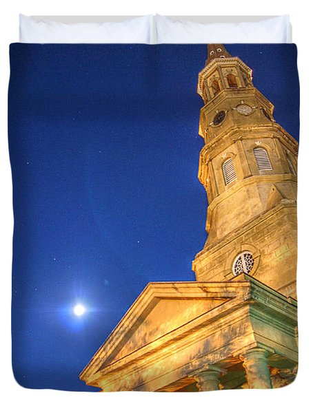 St. Phillip's At Night With Moon And Stars Duvet Cover