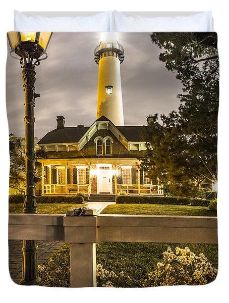 St. Simons Lighthouse Duvet Cover by Debra and Dave Vanderlaan