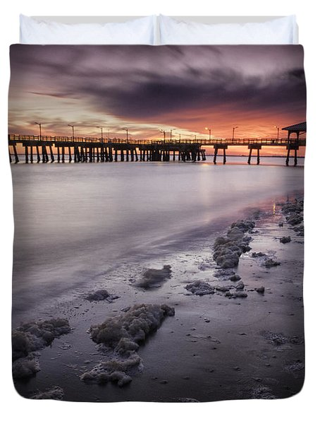 St. Simons Pier At Sunset Duvet Cover by Fran Gallogly