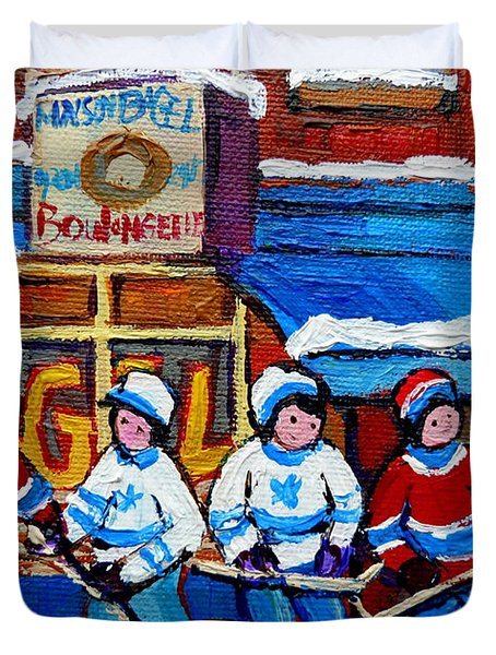 St Viateur Bagel Hockey Game Montreal City Scene Duvet Cover by Carole Spandau