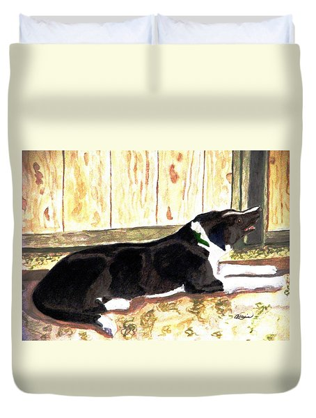 Duvet Cover featuring the painting Stable Duty by Angela Davies