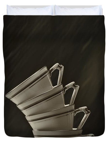 Stack Of Cups Duvet Cover by Amanda Elwell