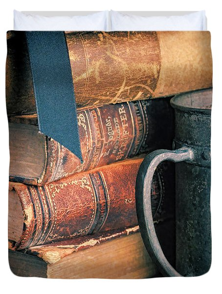 Stack Of Vintage Books Duvet Cover by Jill Battaglia