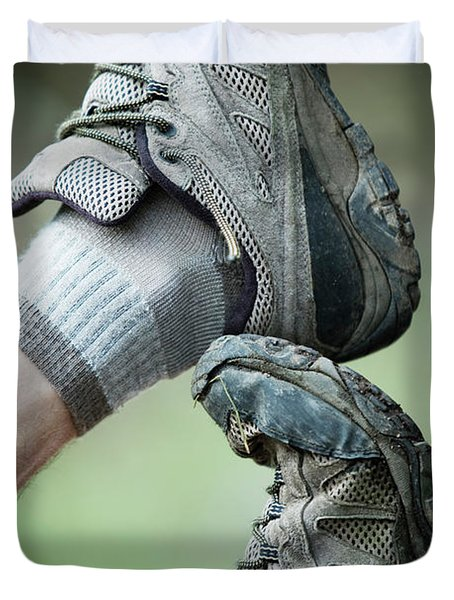 Stacked Hiking Shoes Duvet Cover