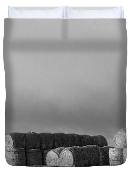Stacked Round Hay Bales Bw Panorama Duvet Cover by James BO  Insogna