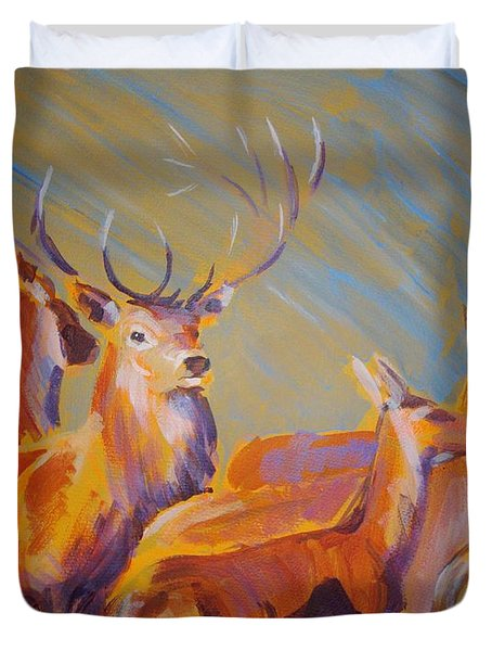 Stag And Deer Painting Duvet Cover