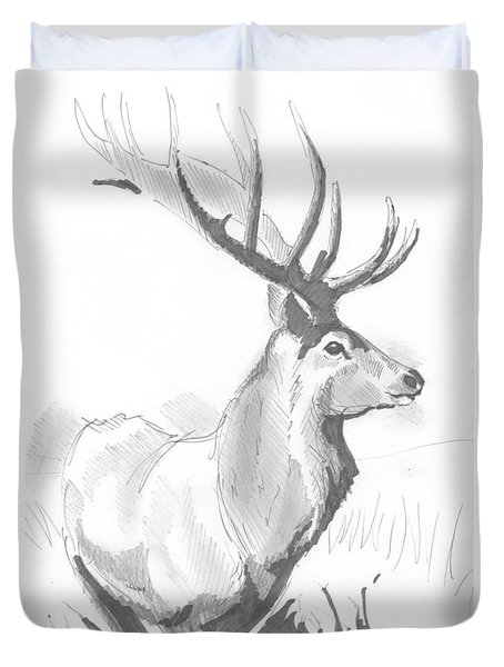 Stag Drawing Duvet Cover