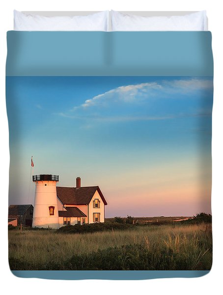 Stage Harbor Lighthouse Duvet Cover by Bill Wakeley