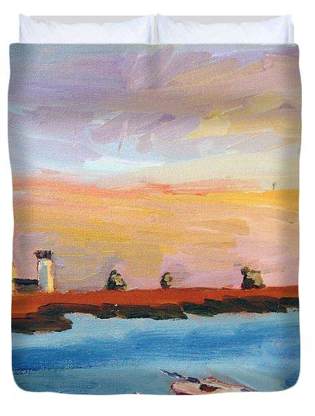 Stage Harbor Sunset Duvet Cover
