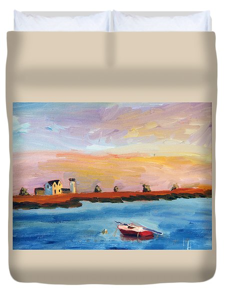 Stage Harbor Sunset Duvet Cover