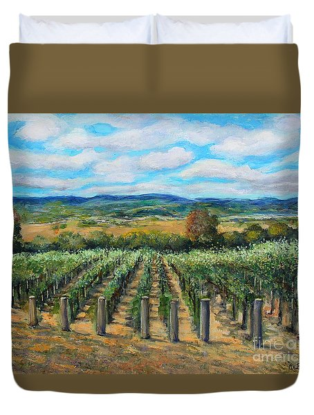 Duvet Cover featuring the painting Stags' Leap Vineyard by Rita Brown