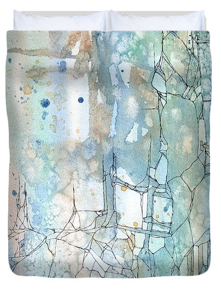 Duvet Cover featuring the painting Stained Cracks by Rebecca Davis