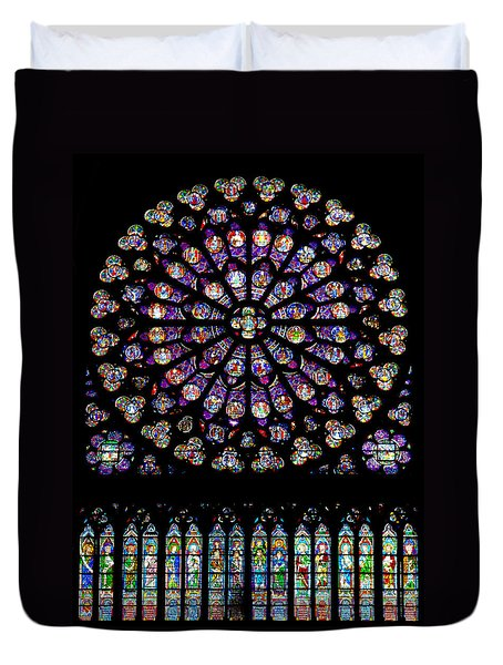Stained Glass At Notre Dame Duvet Cover