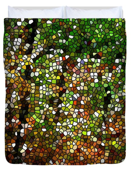 Stained Glass Autumn Colors In The Forest 1 Duvet Cover by Lanjee Chee