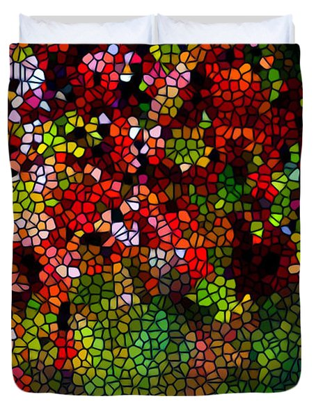 Stained Glass Autumn Leaves Reflecting In Water Duvet Cover by Lanjee Chee