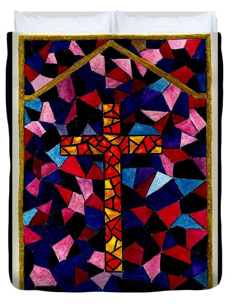 Stained Glass Cross Duvet Cover by Michael Vigliotti
