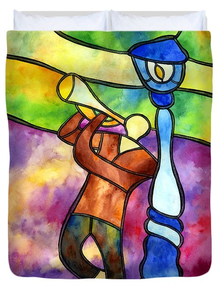 Stained Glass Jazzman Duvet Cover