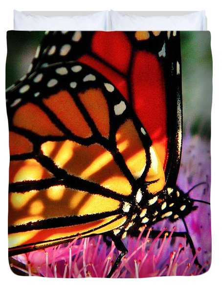 Stained Glass Monarch  Duvet Cover by Chris Berry