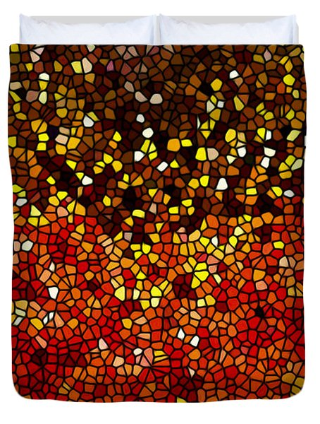 Stained Glass Sunflower Closeup Duvet Cover by Lanjee Chee