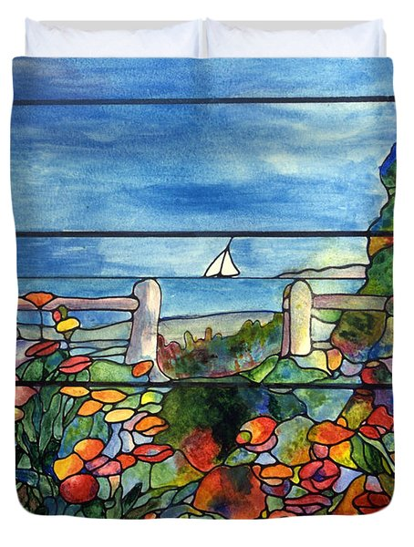 Stained Glass Tiffany Landscape Window With Sailboat Duvet Cover