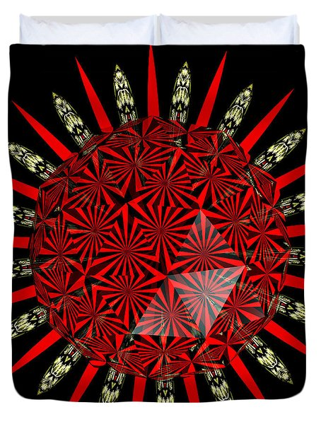 Stained Glass Window Kaleidoscope Polyhedron Duvet Cover by Rose Santuci-Sofranko
