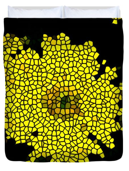Stained Glass Yellow Chrysanthemum Flower Duvet Cover by Lanjee Chee