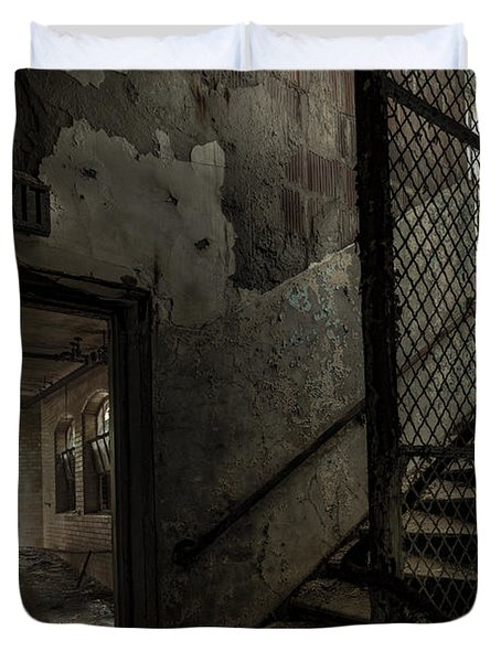 Stairs And Corridor Inside An Abandoned Asylum Duvet Cover by Gary Heller
