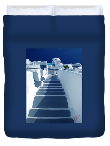 Duvet Cover featuring the photograph Stairs Down To Ocean Santorini by Colette V Hera  Guggenheim