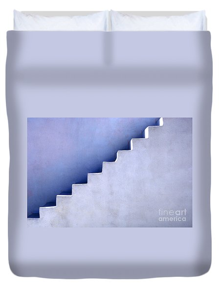 Stairs In Santorini Duvet Cover by Bob Christopher