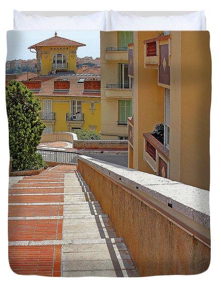 Stairway In Monaco French Riviera Duvet Cover