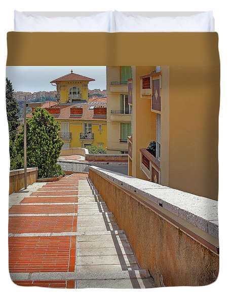 Stairway In Monaco French Riviera Duvet Cover
