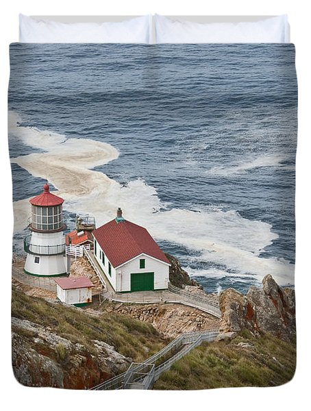 Stairway Leading To Point Reyes Lighthouse Duvet Cover by Jeff Goulden