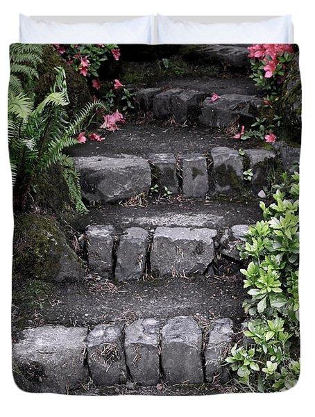 Stairway Path To Gardens Duvet Cover by Athena Mckinzie