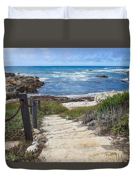 Stairway To Asilomar State Beach Duvet Cover