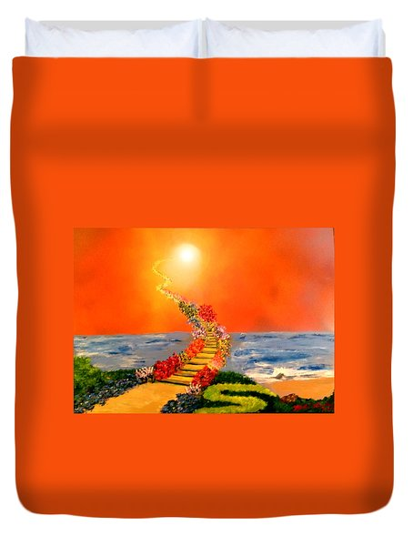 Duvet Cover featuring the painting Stairway To Heaven by Michael Rucker