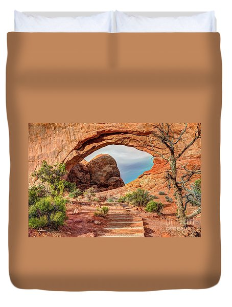 Stairway To Heaven - North Window Arch Duvet Cover