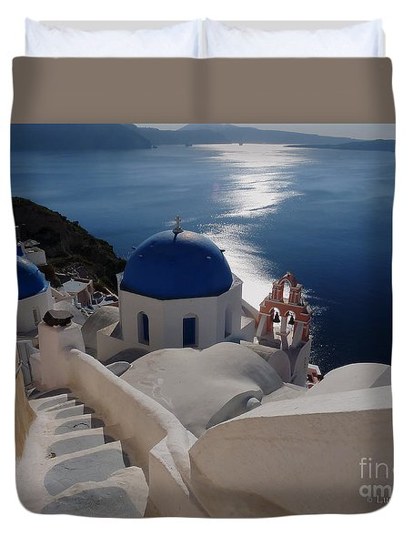 Stairway To The Blue Domed Church Duvet Cover