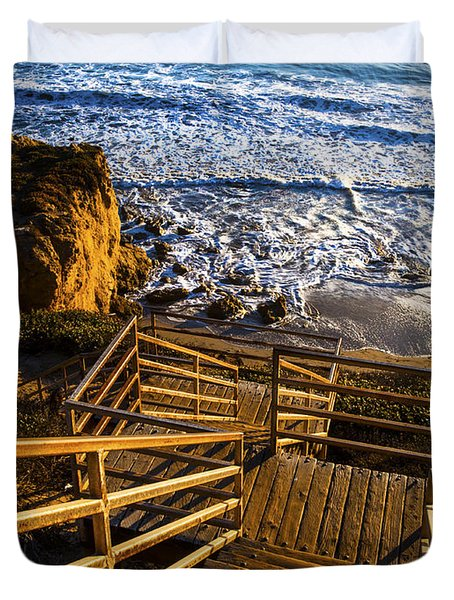 Duvet Cover featuring the photograph Steps To Blue Ocean And Rocky Beach by Jerry Cowart