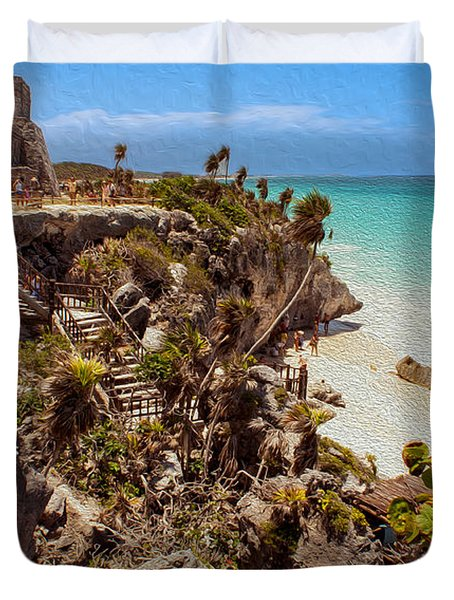 Stairway To The Tulum Beach  Duvet Cover
