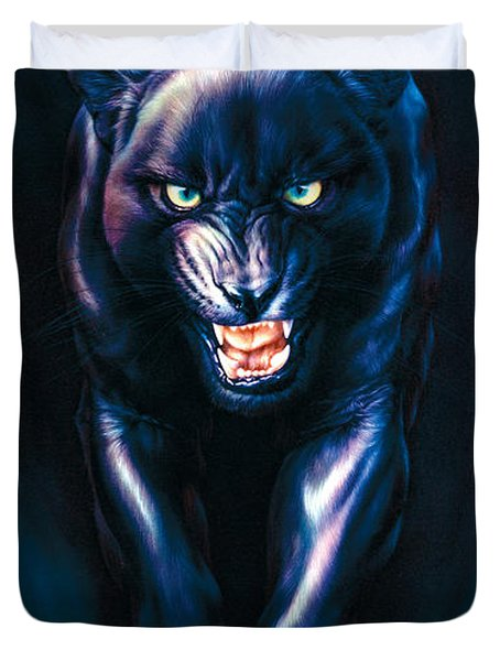 Stalking Panther Duvet Cover by Andrew Farley