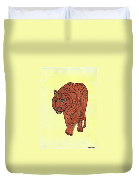 Duvet Cover featuring the painting Stalking Tiger by Tracey Williams