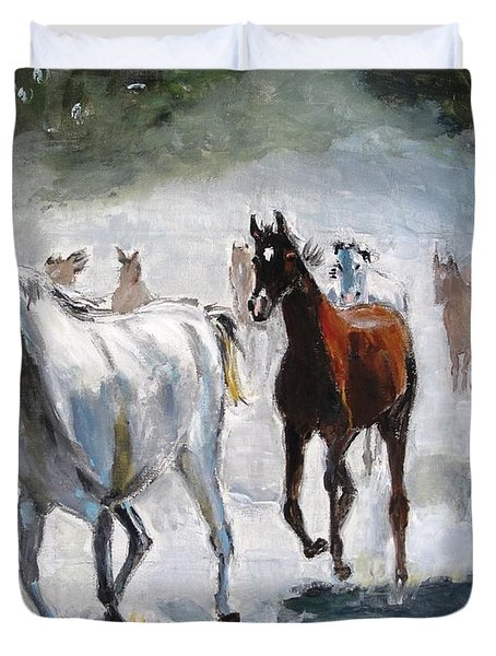 Duvet Cover featuring the painting Stampede by Judy Kay