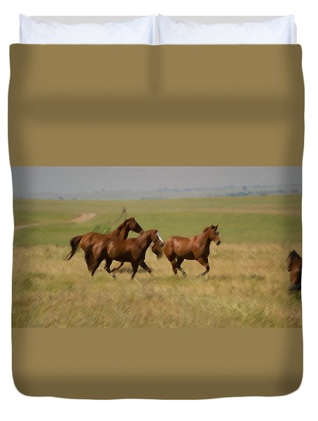 Duvet Cover featuring the photograph Stances by Rima Biswas
